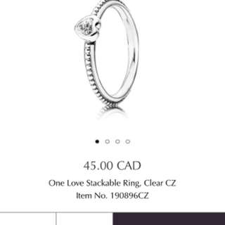 Pandora stackable heart ring