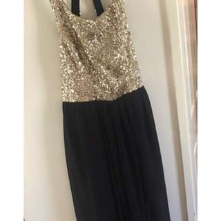 Size 8 Gold Sequins/black Dress