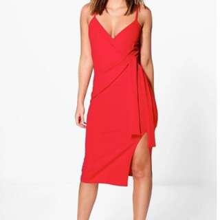 Red Tie up Dress BOOHOO