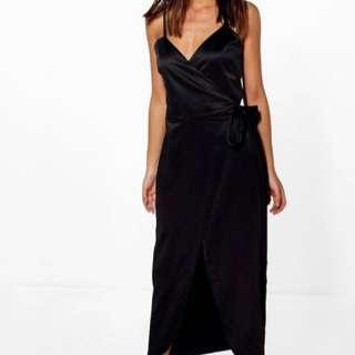 FORMAL BLACK TIE UP SILK DRESS BOOHOO