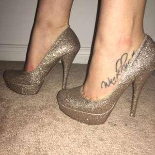BNIB Gold Sparkly Heels