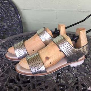 Gorman Silver Strips Flat Sandals