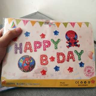 happy bday set (letter foil balloons + character balloons)