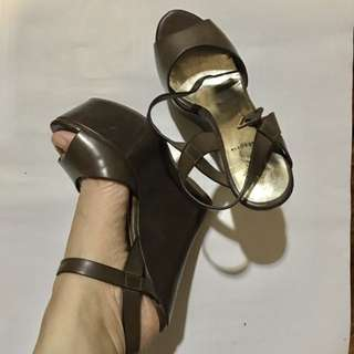 Chocolate brown high wedged sandals