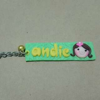 Name plate with head keychain