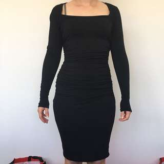 Kit and Ace Technical Cashmere Black Dress - Sz US 4 (AU8)