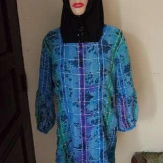 Blouse Biru Motif Wanita LD 95cm