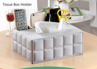 Leather/Stationary Tissue Box Holder Brand New