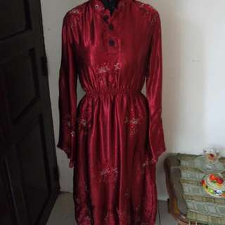 Dress Gamis Wanita Marun Payet Serut LD 85CM