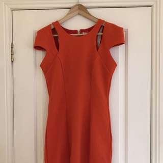 Bright red/orange Body Con Dress