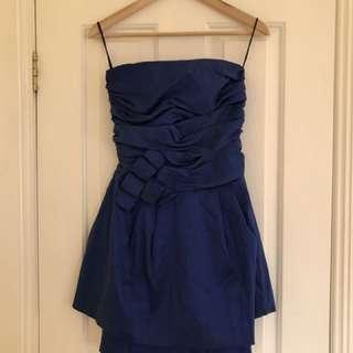 Strapless Formal Dress Navy Blue