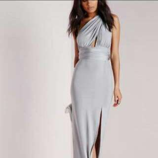 backless silver multifunction dress