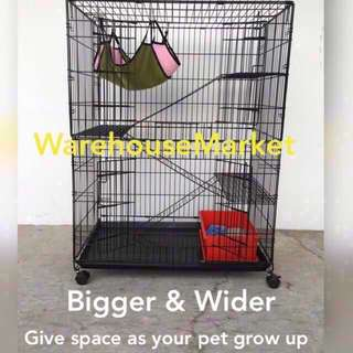 Large 3 Tier Cat / Kitten / Rabbit Cage With Hammock