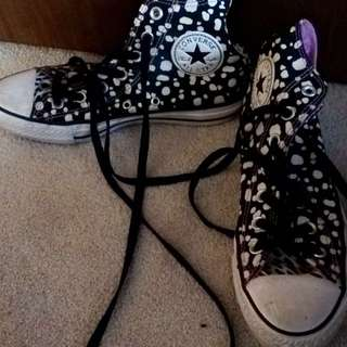 Converse High Tops - Black And White Spots