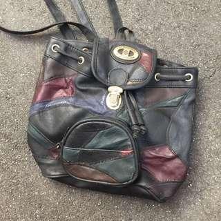 Vintage古著真皮小後背包