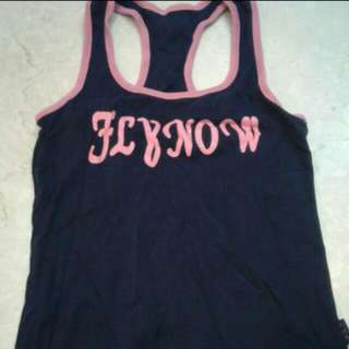 Navy Blue With Pink Shimmer Wording Racerback