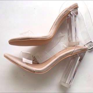 SALE!!! MESHKI CLEAR HIGH HEELS