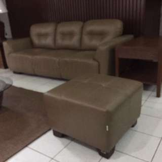 Brown Vegan Leather Couch &a Ottoman Set