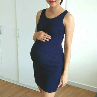 BODYCON MATERNITY DRESS DARK BLUE RIBBED STRETCHABLE