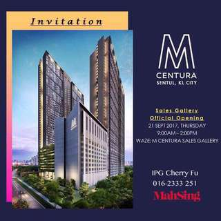 Mahsing M Centura Sales Gallery Official Opening 🎉🎉🎉  Date: 21/09/2017 (Thursday) Time: 9am-2pm Venue: M Centura Sales Gallery   IPG Cherry Fu 016-2333 251