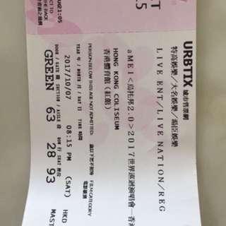 張惠妹演唱會7/10 $580 3張
