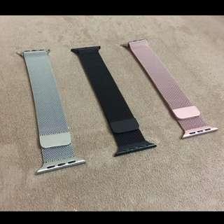 (包郵) 全新 Apple Watch 錶帶 黑色 銀色 玫瑰金 米蘭尼斯 Milanese Loop Apple Watch Band 42mm 38mm 非原裝
