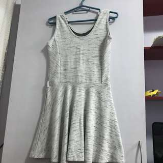 Gray sleeveless skater dress