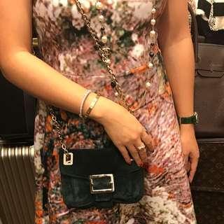 Roger vivier Suede green mini handbag