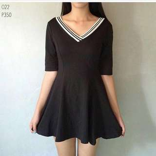 BASIC VNECK SKATER DRESS