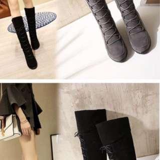 秋冬款💗韓版磨砂綁帶長靴(3色)