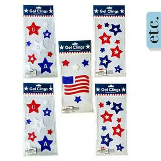 Five (5 )Patriotic USA American Flag Gel Sticker