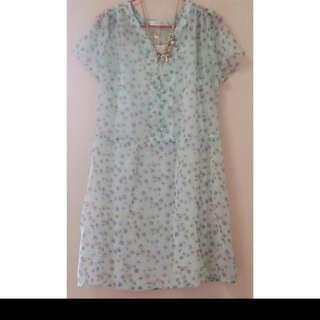 專櫃PScompany淺藍綠色蕾絲碎花浪漫雪紡洋裝