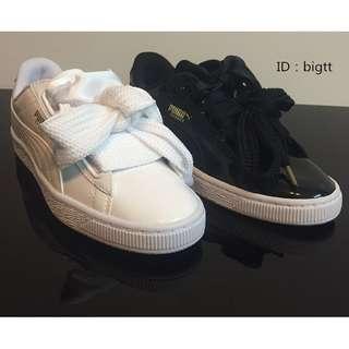 PUMA Basket Heart 蝴蝶結 寬版鞋帶 緞帶 亮皮 白色 黑色 緞帶 慢跑鞋
