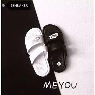 正品 Nike 情侶款 權志龍 拖鞋 一字拖 字母大小logo純鉤子 黑白 陰陽 鴛鴦 忍者 黑紅