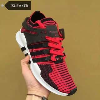 ADIDAS 情侶鞋 EQUIPMENT RUNNING SUPPORT 飛線 情侶鞋 黑 紅 女鞋 男鞋 休閒鞋