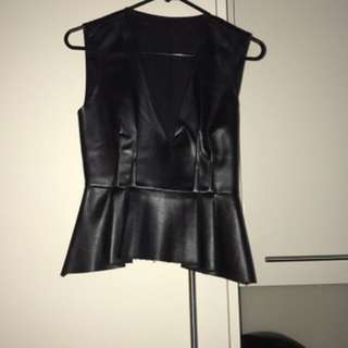 Zara faux leather peplum top