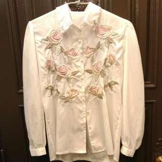 氣質花朵白色襯衫 #交換最划算