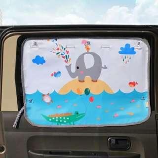 Elephant & Water-Car Curtain-2 curtain per set