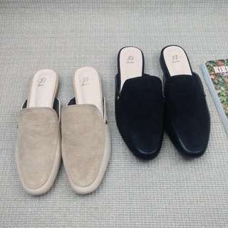 《早衣服》九月早秋🍂繼續發燒歐美簡約絨面拼接穆勒鞋包鞋半拖鞋涼鞋(預)