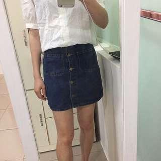 牛仔排扣裙