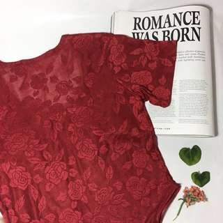 Red Rose Lace Bodysuit