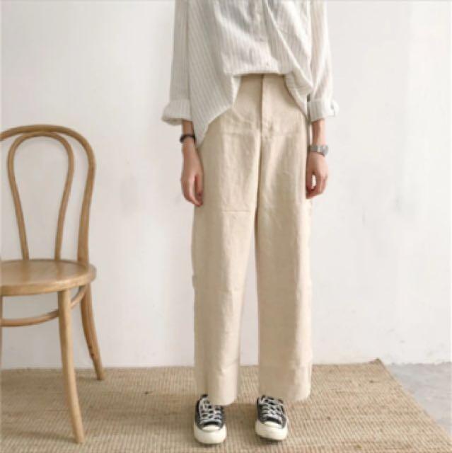 🗣現貨)杏色直筒寬褲👖