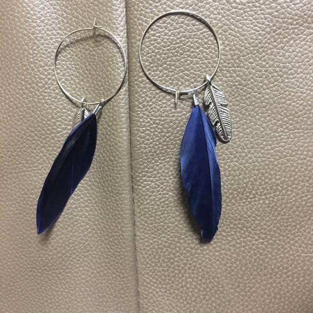 全新藍色羽毛耳環