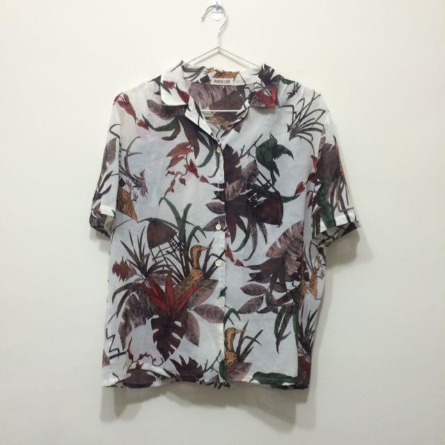 🌵古著 熱帶花襯衫