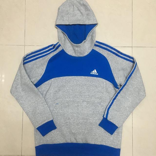 ADIDAS 藍灰色帽T(童裝L)