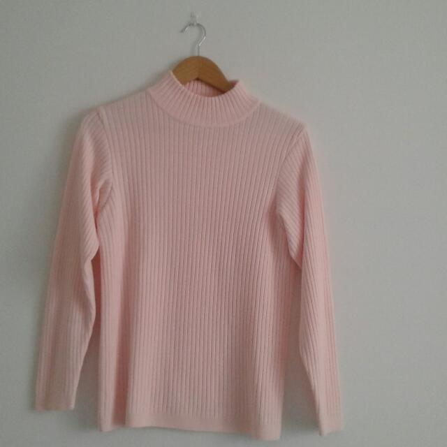 Baby Pink Ribbed Turtleneck Sweater