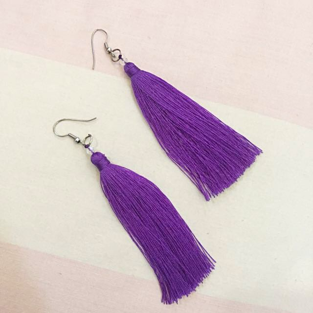 BALI PURPLE TASSEL EARRINGS
