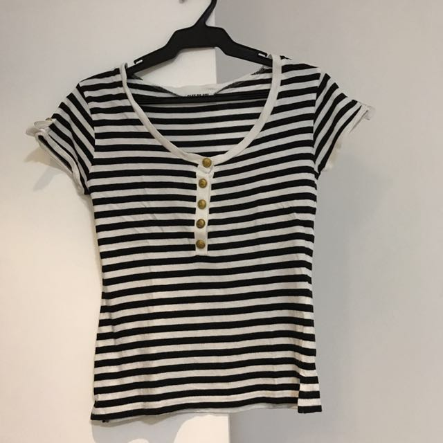 Black and white stripes with gold buttons