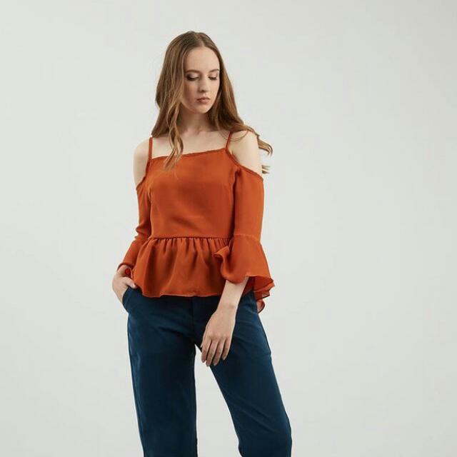blouse sabrina orange by berrybenka