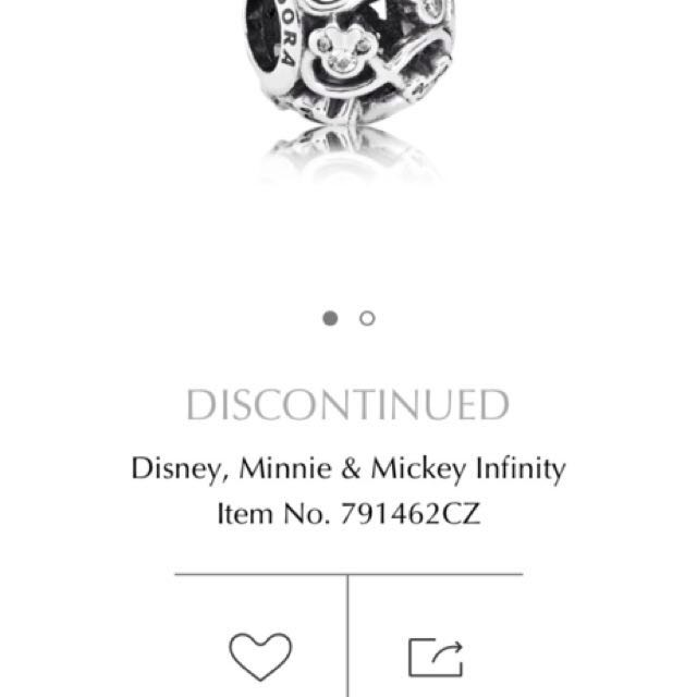BNIB Pandora Disney Mickey & Minnie infinity Charm DISCONTINUED